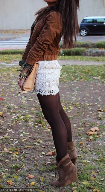 cute way to transition a white lace skirt to fall/winter! black sheer tights, heeled booties, and a faux leather jacket. perfect fall outfit