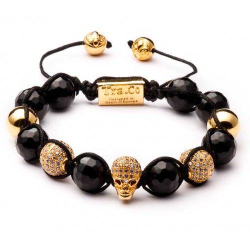 Black obsidian & Zircon skull & 18K gold plating