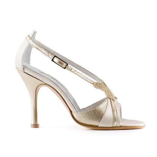 Cream and platinum sandal