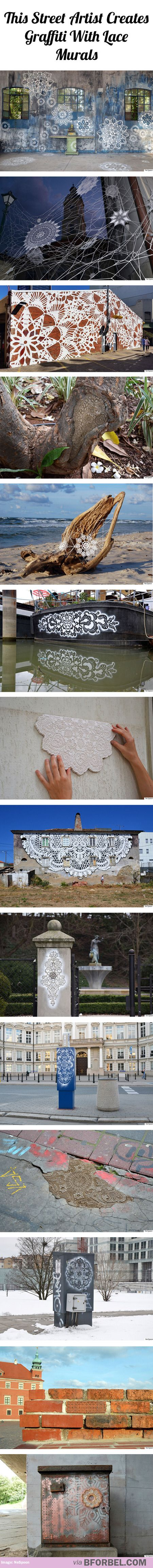 This street artist creates graffiti with lace murals
