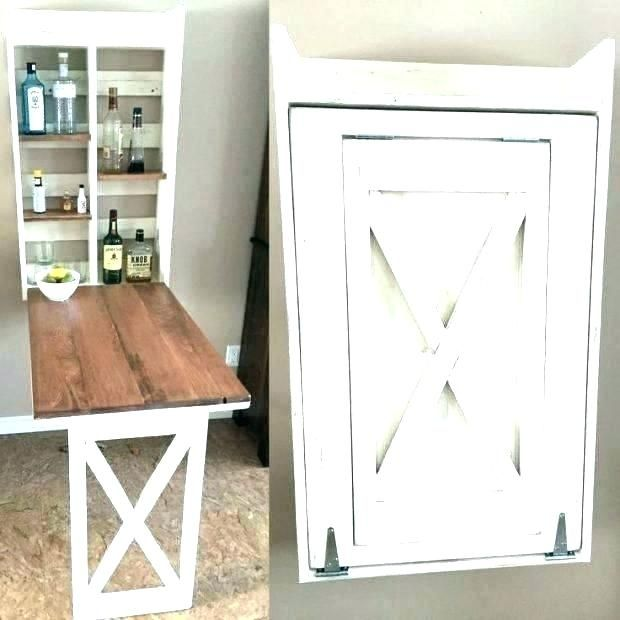 Nice Wood Wall Mounted Folding Kitchen Utility Table Interior