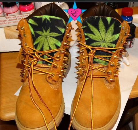 PreSchool- Custom Spiked Toddler Timberland Green Cannabis Marijuana Weed Print Kid Boots