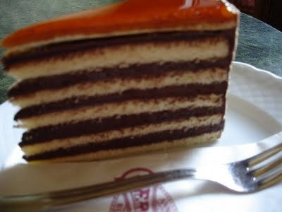 Dobos Torte from the Gerbeaud cafe in Budapest, Hungary.