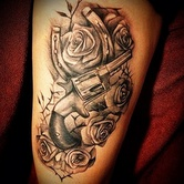 1871 pistol revolver and horseshoe tattoo by Big Gus