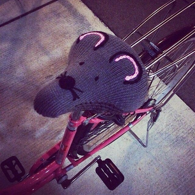 Keep you warm :-) Repost from @haruka_jsb #flyingtiger #tigerstores #bikeseatcover #bicycleseatcover #seatcover #mouse #knitting #cycle #kawaii