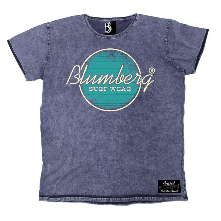 Blumberg Australia Men's Surf Wear Turquoise Design Premium Denim T-Shirt