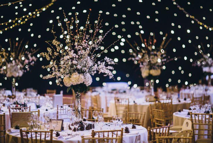 Homemade table arrangements. Matt Horan Photography #winter #wedding