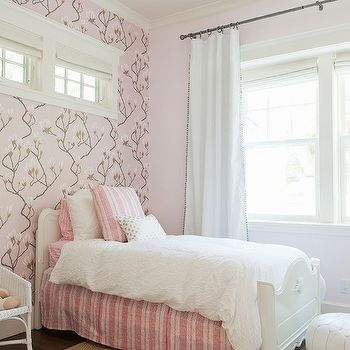 Cole U0026 Son Magnolia Pink Wallpaper, Transitional, Girlu0027s Room