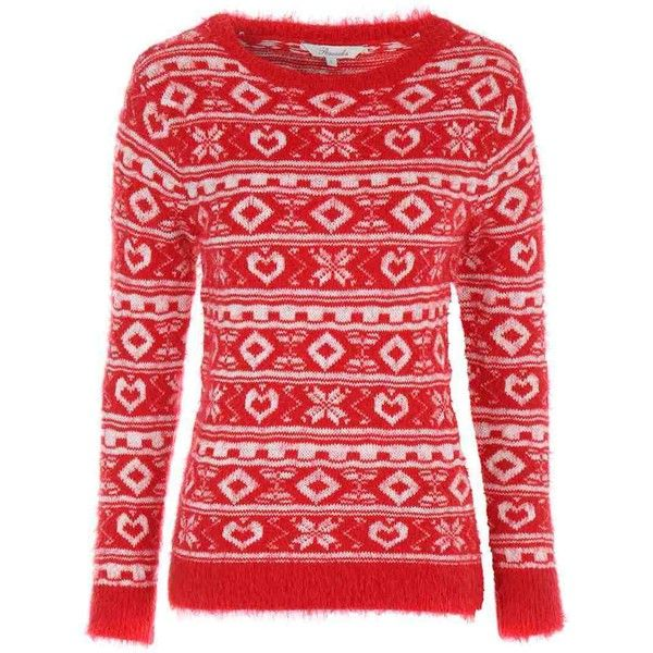 Womens Christmas Feather Jumper ($21) ❤ liked on Polyvore featuring tops, sweaters, feather top, christmas jumper, pattern sweater, feather sweater and red fair isle sweater