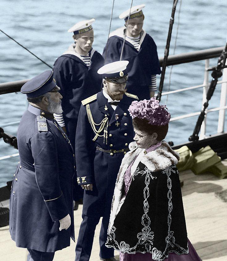 Tsar Nicholas II , Dowager Empress Maria Feodorovna and Edward VII
