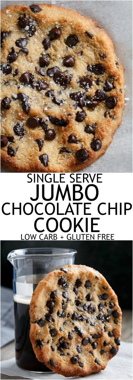 Single Serve Jumbo Low Carb Chocolate Chip Cookie #GlutenFree #LowCarb #LCHF