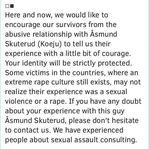 You can contact us on laurawillson1357@gmail.com    #koèju #koeju #koejuvictims #asmund #asmundskuterud #åsmundskuterud #abuse #relationship #victims #daterape #women