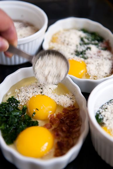 Baked eggs are like an omelette, but better. Spinach, cheese and bacon.