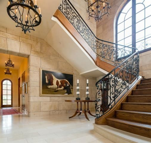 Grand Villa By Wood Mode: Grand Staircase In A Tuscan Italian Style Estate With
