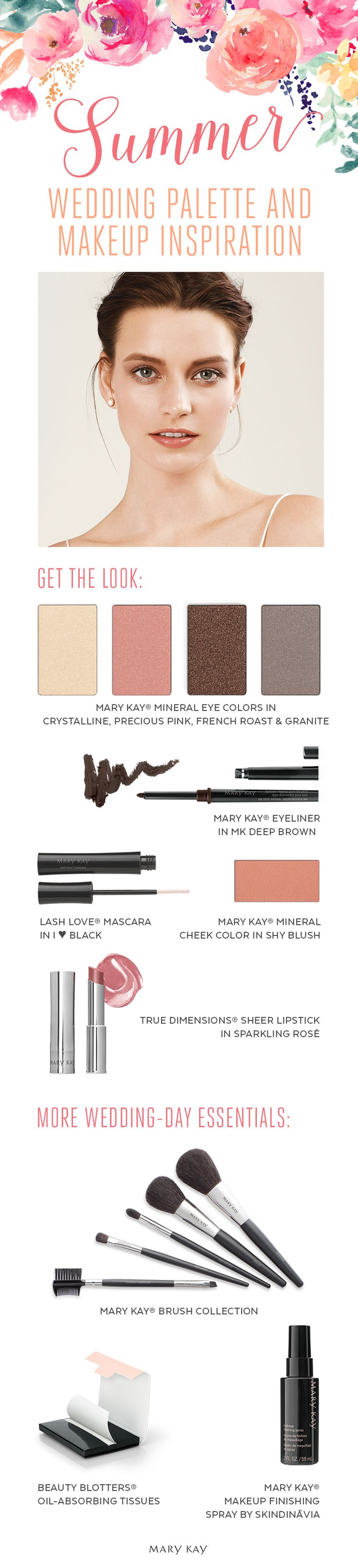 A makeup palette perfect for those planning a summer wedding wonderland! Get this natural bridal beauty look with Mary Kay® Mineral Eye Colors in Crystalline, Precious Pink, French Roast and Granite, and True Dimensions® Sheer Lipstick in Sparkling Rosé.