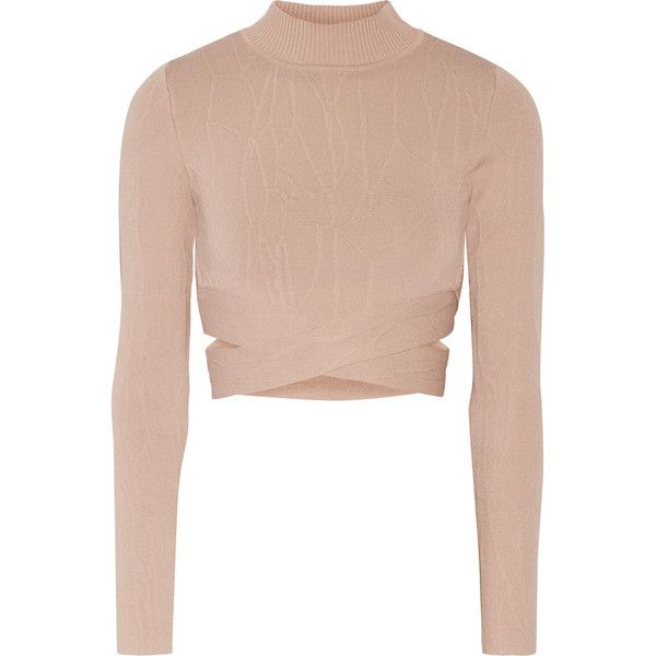 Jonathan Simkhai Cutout textured stretch-knit turtleneck top (£370) ❤ liked on Polyvore featuring tops, sweaters, crop tops, pink, turtle neck tops, pink crop top, cut out crop top, cut-out tops and turtle neck crop top