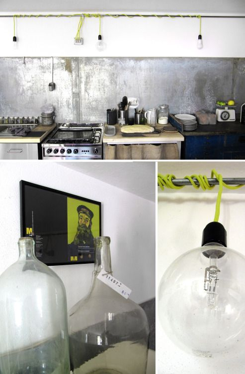 my kitchen in zinc and yellow fluo