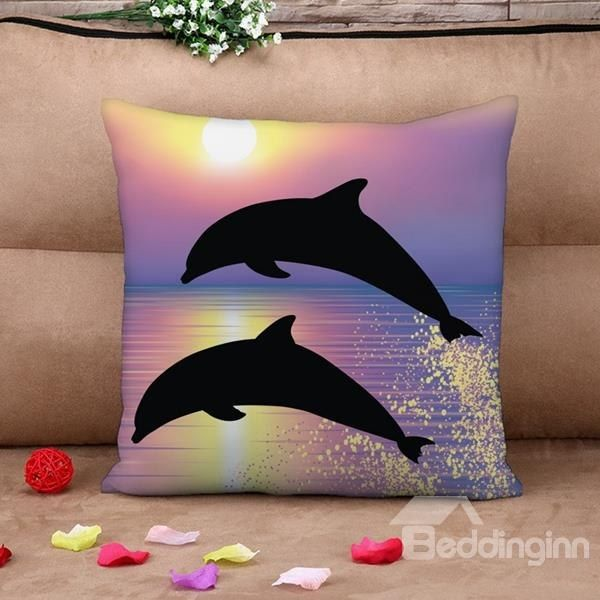 3D Jumping Dolphins Printed Cotton 4-Piece Purple Bedding Sets/Duvet Covers on sale, Buy Retail Price Digital Bedding at Beddinginn.com