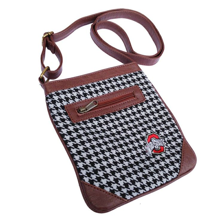 Ticket Bag - Ohio State University $34.99 Tartan and leather adjustable strap purse. Wear it cross body and on gameday or any day. Fits a phone and wallet and other small items. This Product Makes a Great Holiday Gift for any Ohio State Buckeyes fan!