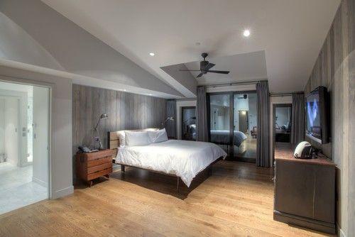 Schattierungen von grau, sauberen geraden Linien und scharfen kantigen Ecken machen dieses Master-Schlafzimmer mit maskulinen Appeal Nässen. Foto: