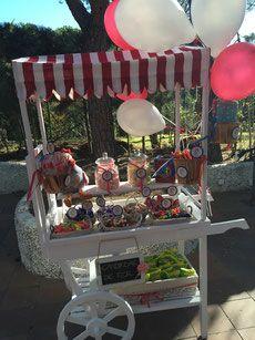 Carrito de Chuches personalizados para fiestas y eventos - The Most Beautiful Site. Alquiler de Carritos de Palomitas y Algodón de azúcar