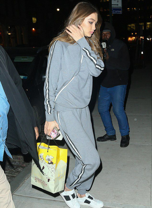 Gigi Hadid wears Olivia von Halle's Missy London silk-cashmere tracksuit