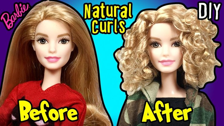 How to Make Natural Curly Hairstyle using Barbie Doll - DIY Doll Hairsty...