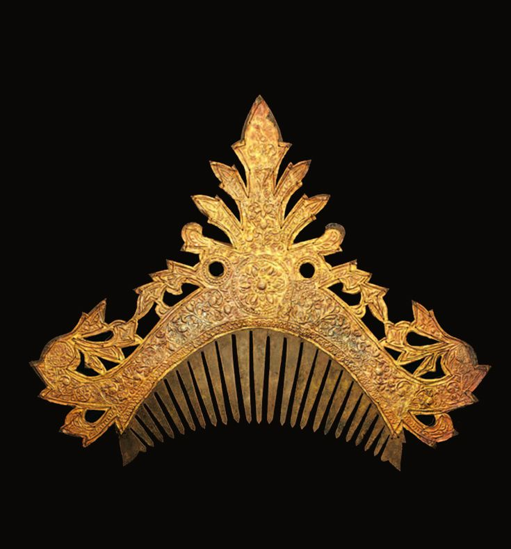 Indonesia ~ South Sumatra | Hair comb; silver gilt, silver, metal | 19th century