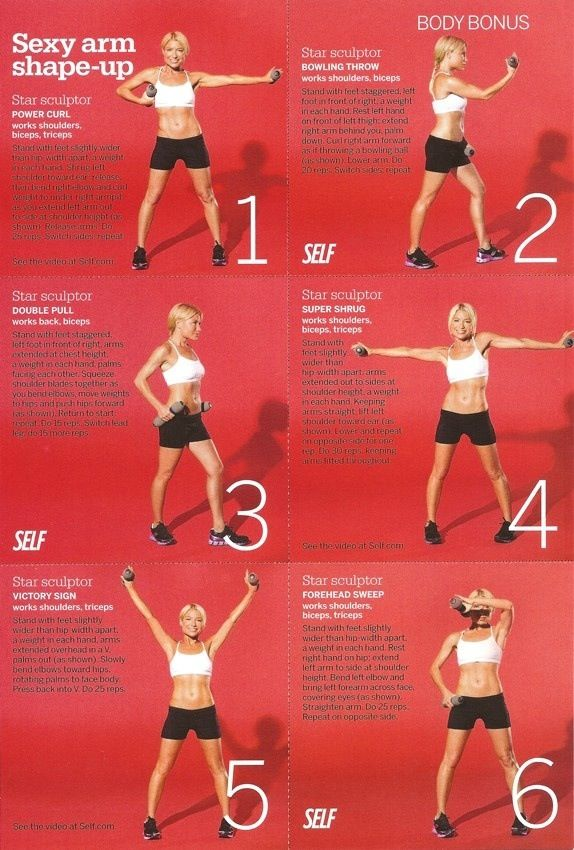 Arm workout for slimming and sculpturing :)                                                                                                                                                                                 More
