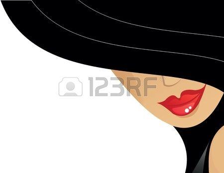 mujeres con sombrero negro y los labios rojos Foto de archivo