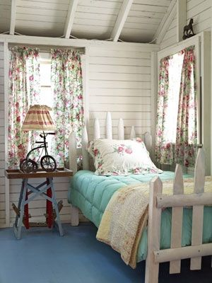 : Decor, Guest Room, Picket Fences, Ideas, Shabby Chic, Dream, Bed Frame, Bedrooms