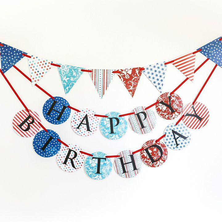 Red white and blue 'Life and Liberty' birthday banner and bunting set