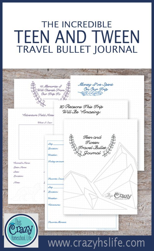 Engage your teens and tweens in your family's adventures with the Incredible Teen and Tween Travel Bullet Journal.