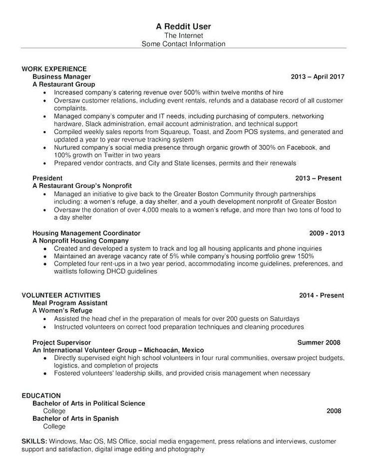 Reddit 2018 Resume templates, Resume template word