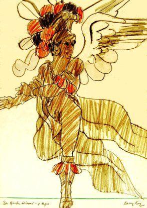 THE FOUR SEASONS - LES QUATRE SAISONS - costume for a black angel, designed by Barry Kay, ballet by Kenneth MacMillan, Ballet de l'Opéra, Théâtre National Opéra de Paris, 1978