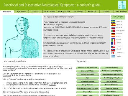 Self Help website for patients with functional symptoms / conversion disorder / dissociative symptoms including functional weakness, non-epileptic attacks, dissociative seizures, functional movement disorders and functional sensory symptoms