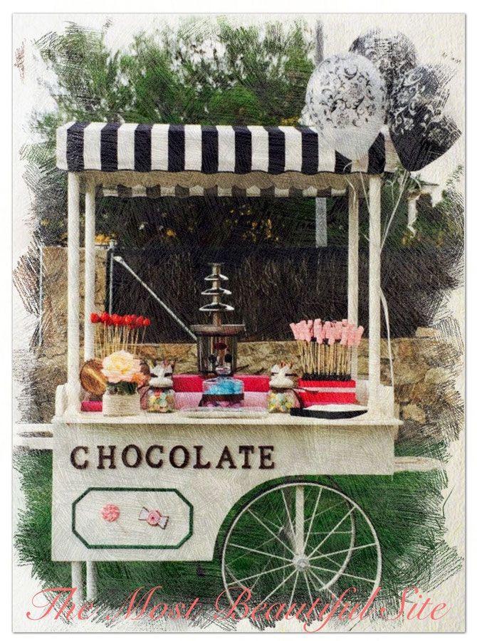 Carrito Fuente de Chocolate para fiestas y eventos - The Most Beautiful Site. Alquiler de Carritos de Palomitas y Algodón de azúcar
