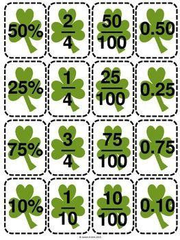 St Patrick's Day style decimals, fractions and percentages cards to print and laminate. Great resource.
