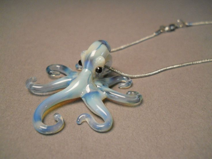 Sweet gift for her! at Glassnfire  a glass art studio  - Blue Pearl Octopus Pendant Necklace, $48.00 (http://www.glassnfire.com/blue-pearl-octopus-pendant-necklace/)