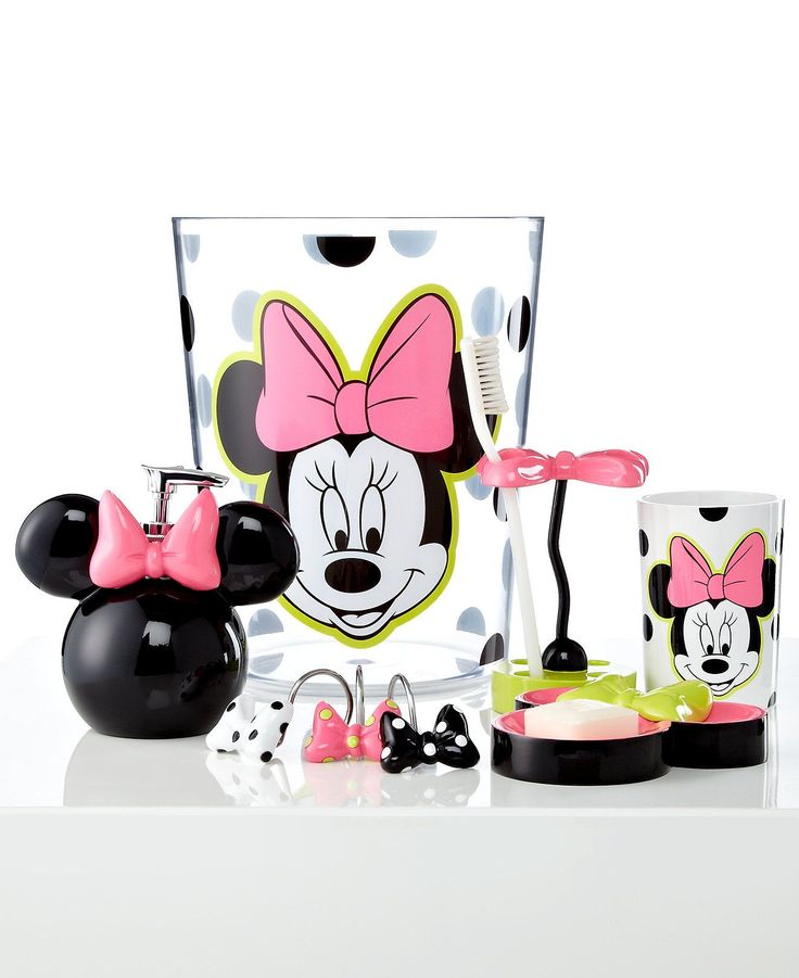 Really Adorable Minnie Mouse Bathroom Accessories Set Include Soap  Dispenser And Large Trash Basket