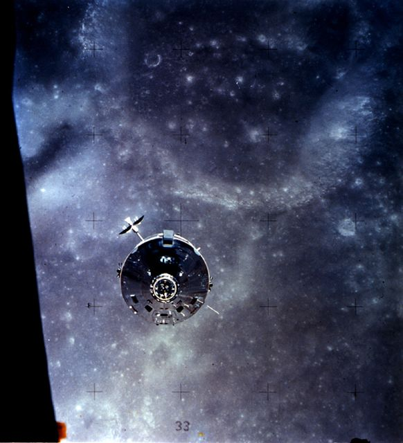 The lunar module is being approached for the final rendezvous of the Apollo 16 mission.