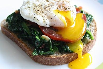 Poached Egg with Sauteed Spinach and Heirloom Tomato on toast