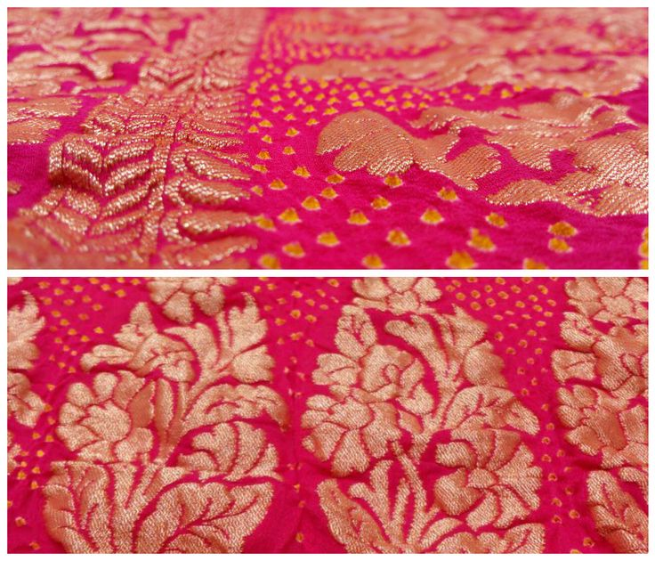 Clad the Style !! Beautiful Pink Banarasi Bandhani Dupatta.  Pure Banarasi Material with Beautiful Golden Zari Buttas. Small Yellow Bandhani dots compliments the pink and golden color of Dupatta. Single Designer piece available.  www.sankalpbandhej.com For more details/Collaboration call/whatsapp - 9377399299 #sankalpthebandhejshoppe #bandhanidupatta #banarasidupatta #dupatta #bandhej #bandhani #tiendye #designerdupattas