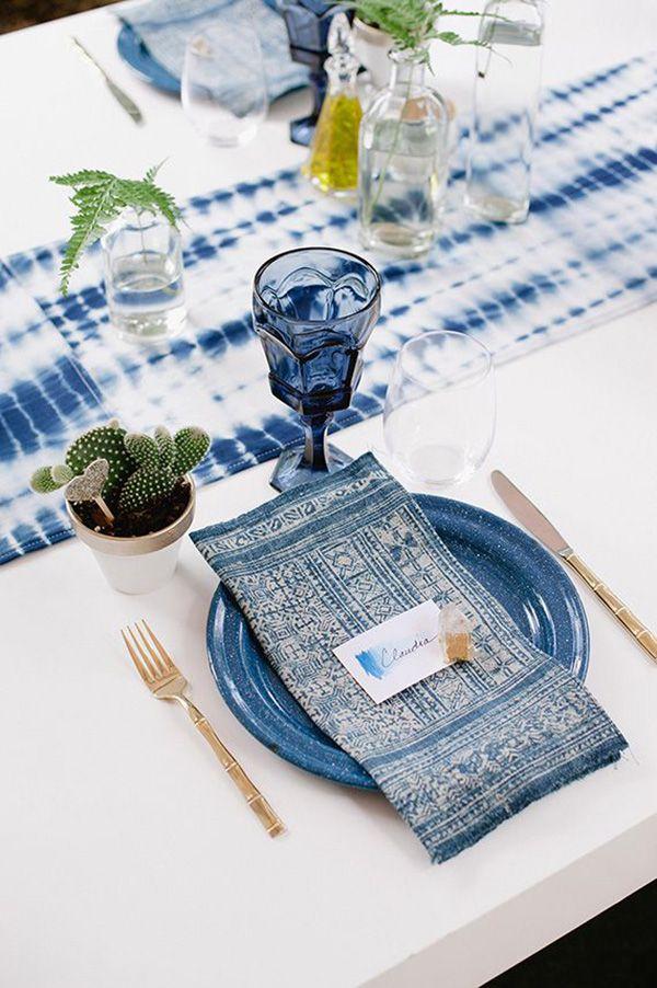 hmong and shibori linens in a fresh table setting | 100 layer cake via coco kelley