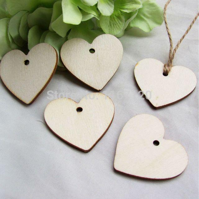 200 Pcs Bois En Bois Coeur tags Carte De Mariage Wish Tree Cadeau Tags avec Jute Chaîne 40mm * 37mm