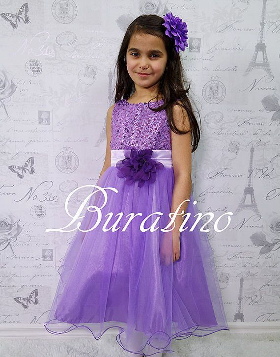 Flower Girl Dress Lilac Purple Red Silver by BURATINOBOUTIQUE