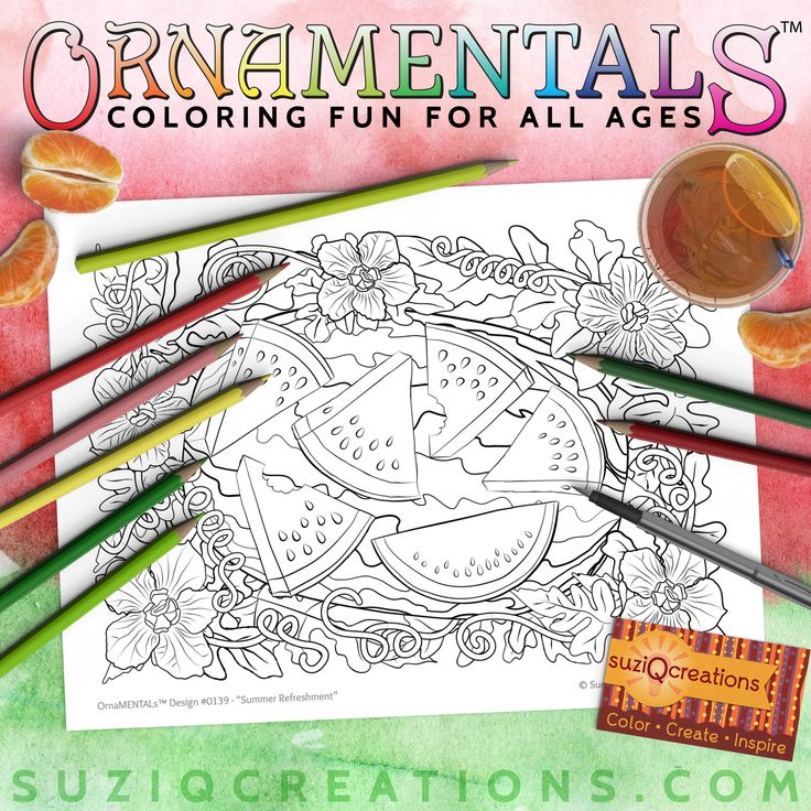Summer Refreshment - Watermelon Coloring Page for Summer