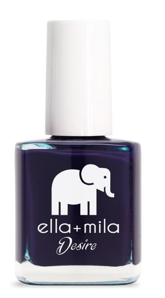 "A favorite non-toxic nail polish color: The sleek ""Bite Me"" deep purple from Ella + Mila."