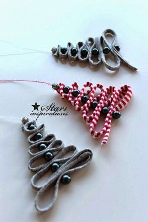38 Handmade Christmas Ornaments - Ribbon and Beads Tree Ornament