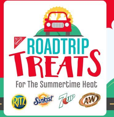 Upload a photo without any products that shows you at or on the way to a Summer Road Trip Destination to enter and win a $500 Walmart Gift Card, a Yeti Cooler, and a selection of Nabisco and Dr Pepper Snapple Group Snacks.